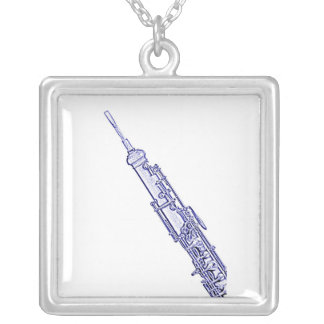 Oboe Blue Ink Drawing Necklace