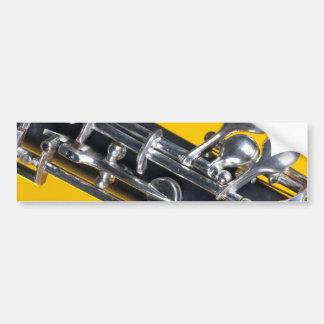 Oboe en fondo amarillo pegatina para auto