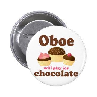 Oboe jugará para el chocolate pin redondo de 2 pulgadas