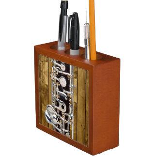 Oboe Keys on Wood Panel Effect Desk Organizer