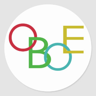 OBOE Letters Classic Round Sticker