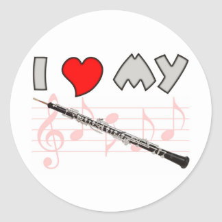 Oboe Love Round Stickers