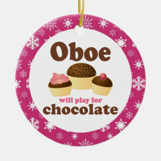 Oboe Music Cupcakes Christmas Ornament