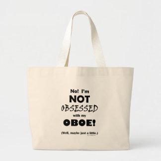 Oboe obsesionado bolsa de tela grande
