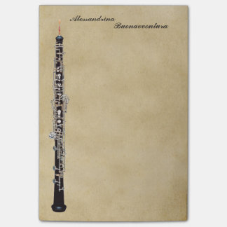 Oboe on Parchment Look Customizable Name Post-it Notes