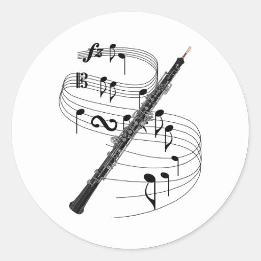 Oboe Pegatina Redonda