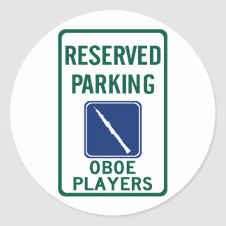 Oboe Players Parking Classic Round Sticker