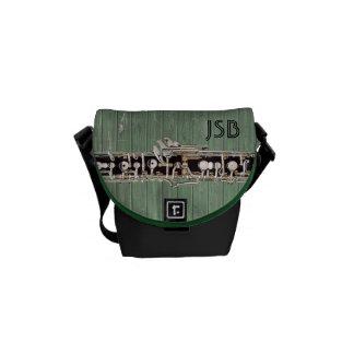 Oboe secciona el monograma verde del personalizado bolsas de mensajeria