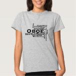 Oboe Word Cloud Black Text Tee Shirt