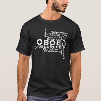 Oboe Word Cloud White Text T-Shirt
