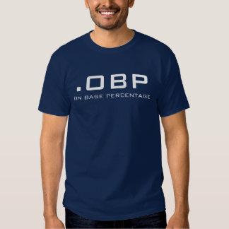 .OBP, ON BASE PERCENTAGE TEE SHIRTS