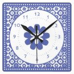 Obra clásica americana azul y blanca de la cocina  relojes de pared