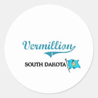 Obra clásica bermellona de la ciudad de Dakota del Etiquetas Redondas