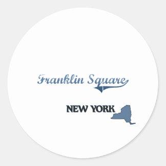 Obra clásica cuadrada de Franklin New York City Pegatina Redonda