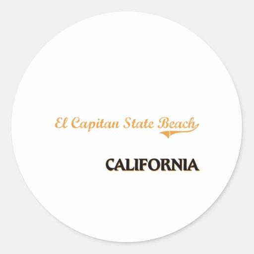 Obra clásica de California de la playa de estado Etiqueta Redonda