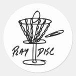 Obra clásica de Discetch del golf del disco Pegatinas Redondas