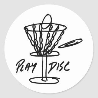 Obra clásica de Discetch del golf del disco Pegatina Redonda