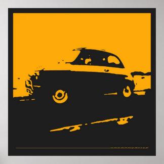 Obra clásica de Fiat 500 - amarillee en el poster