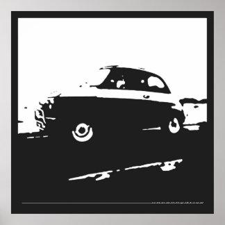 Obra clásica de Fiat 500 - blanco en fondo del car Poster
