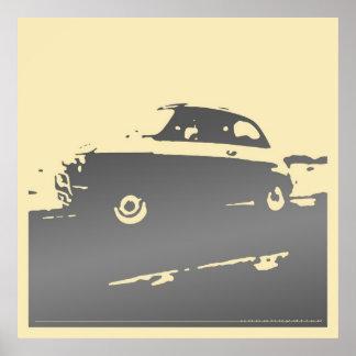 Obra clásica de Fiat 500 - gris oscuro en el poste Impresiones