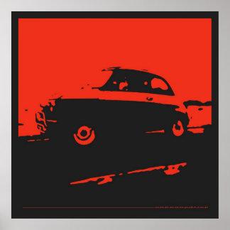 Obra clásica de Fiat 500 - rojo en el poster negro