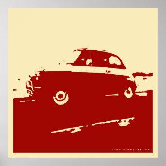 Obra clásica de Fiat 500 - rojo oscuro en el poste Poster