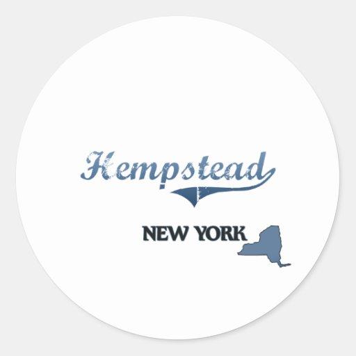 Obra clásica de Hempstead New York City Pegatina Redonda