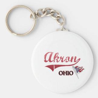 Obra clásica de la ciudad de Akron Ohio Llaveros