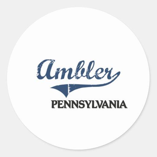 Obra clásica de la ciudad de Ambler Pennsylvania Etiquetas Redondas