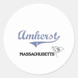 Obra clásica de la ciudad de Amherst Massachusetts Pegatinas Redondas