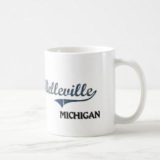 Obra clásica de la ciudad de Belleville Michigan Tazas De Café