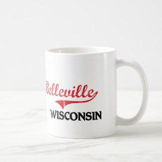 Obra clásica de la ciudad de Belleville Wisconsin Tazas De Café