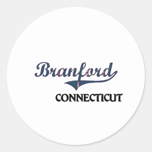 Obra clásica de la ciudad de Branford Connecticut Pegatinas Redondas