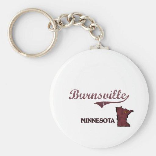 Obra clásica de la ciudad de Burnsville Minnesota Llavero Redondo Tipo Pin