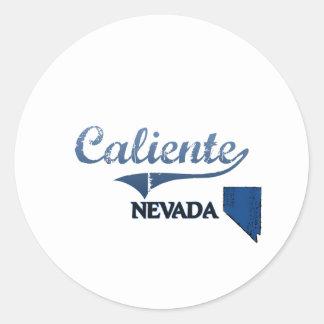 Obra clásica de la ciudad de Caliente Nevada Etiqueta Redonda