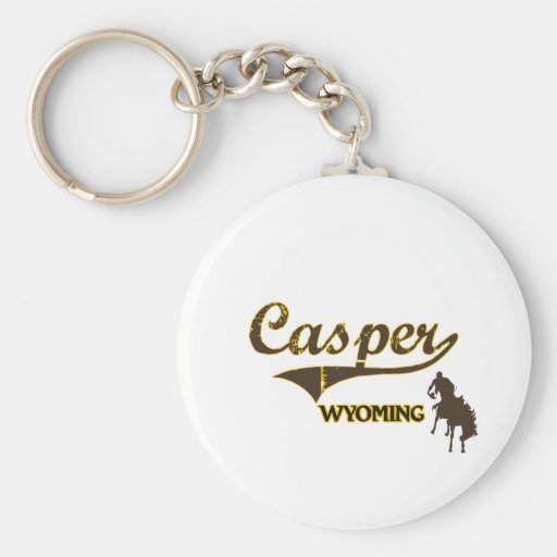 Obra clásica de la ciudad de Casper Wyoming Llavero