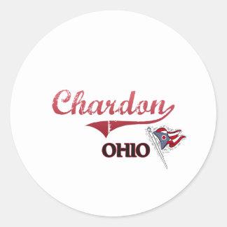 Obra clásica de la ciudad de Chardon Ohio Etiquetas Redondas