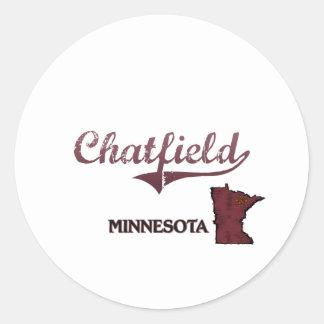 Obra clásica de la ciudad de Chatfield Minnesota Pegatinas Redondas