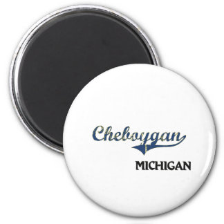 Obra clásica de la ciudad de Cheboygan Michigan Imán Redondo 5 Cm