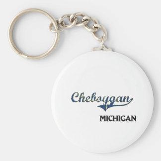 Obra clásica de la ciudad de Cheboygan Michigan Llavero Redondo Tipo Pin