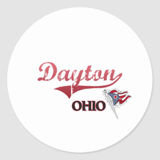 Obra clásica de la ciudad de Dayton Ohio Pegatinas Redondas