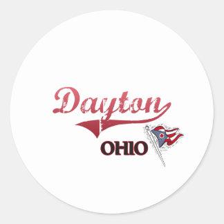 Obra clásica de la ciudad de Dayton Ohio Pegatina Redonda
