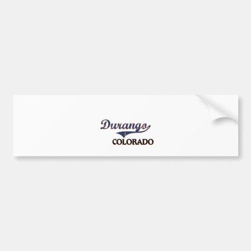 Obra clásica de la ciudad de Durango Colorado Pegatina De Parachoque