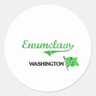 Obra clásica de la ciudad de Enumclaw Washington Etiquetas Redondas