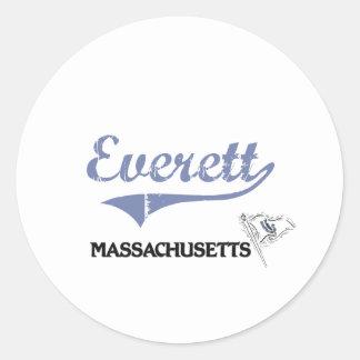 Obra clásica de la ciudad de Everett Massachusetts Etiquetas Redondas