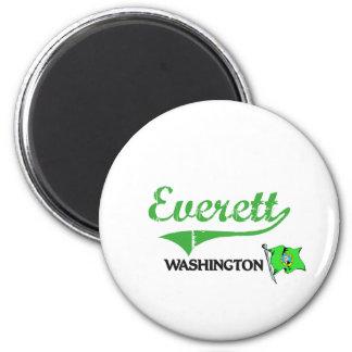 Obra clásica de la ciudad de Everett Washington Imán Redondo 5 Cm