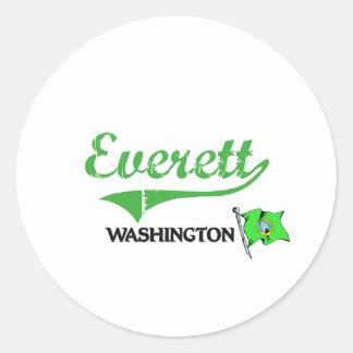 Obra clásica de la ciudad de Everett Washington Pegatina Redonda