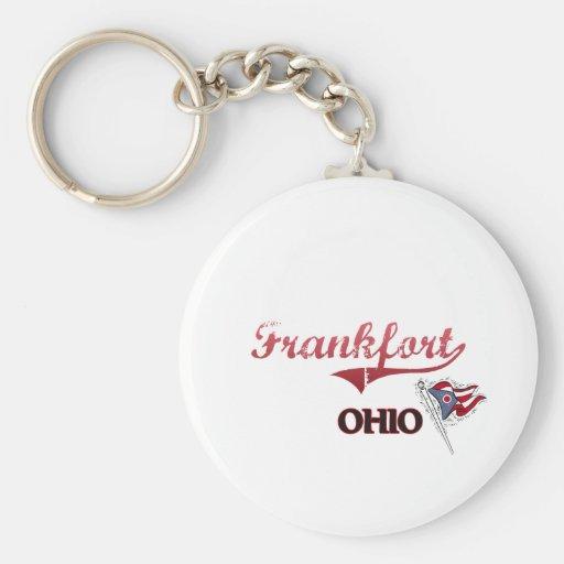 Obra clásica de la ciudad de Frankfort Ohio Llavero