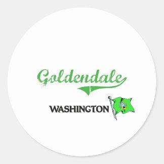 Obra clásica de la ciudad de Goldendale Washington Pegatinas