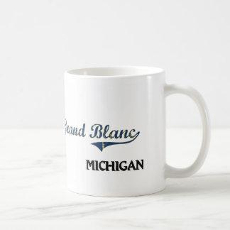 Obra clásica de la ciudad de Grand Blanc Michigan Taza Básica Blanca